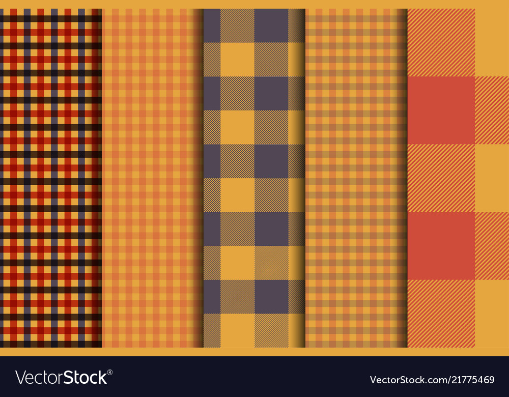 Set of 5 options tartan seamless pattern