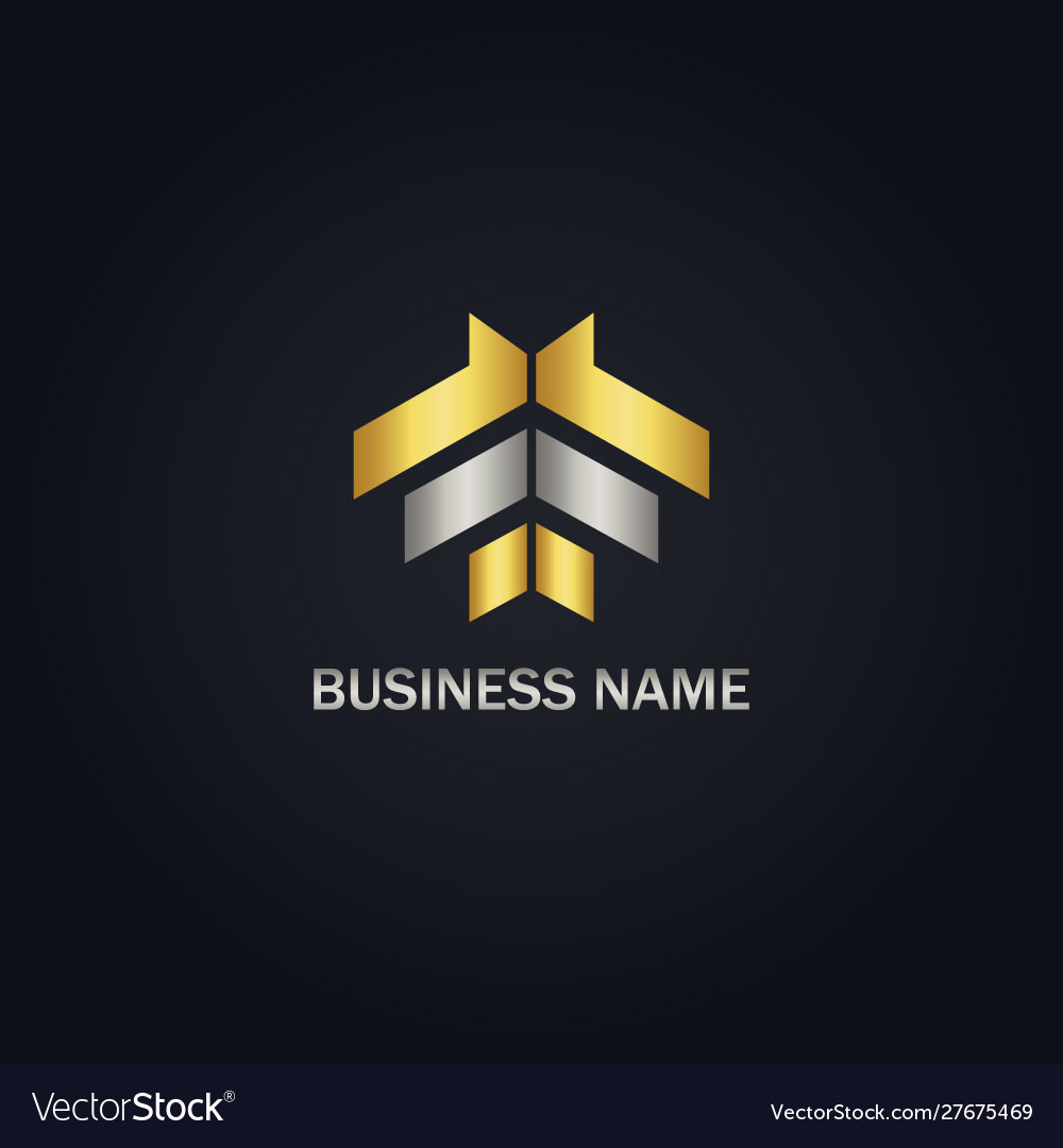 Shape line gold abstract logo