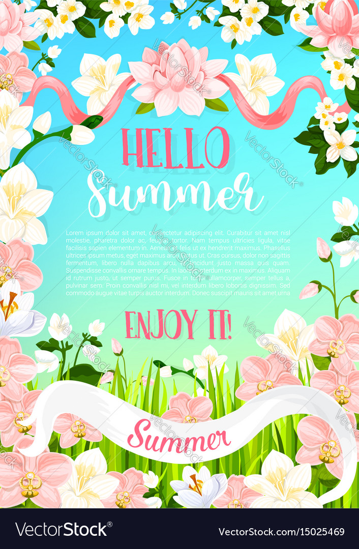Summer flowers poster of flourish bouquets Vector Image