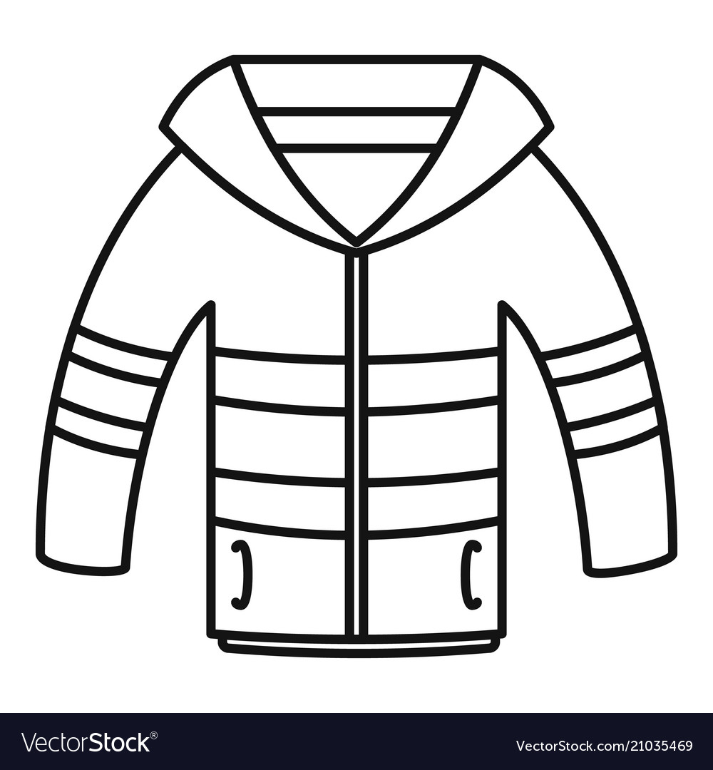 dc3adbe3ec9 Winter jacket icon outline style Royalty Free Vector Image