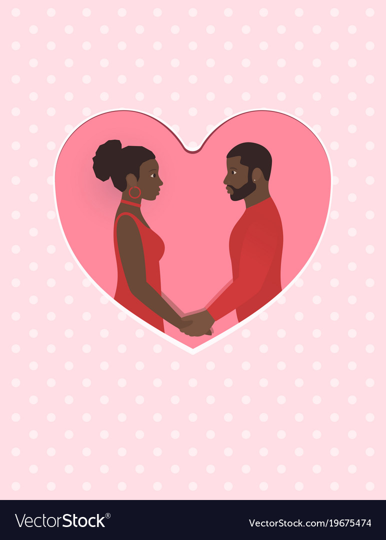 African female and male a couple in love holding