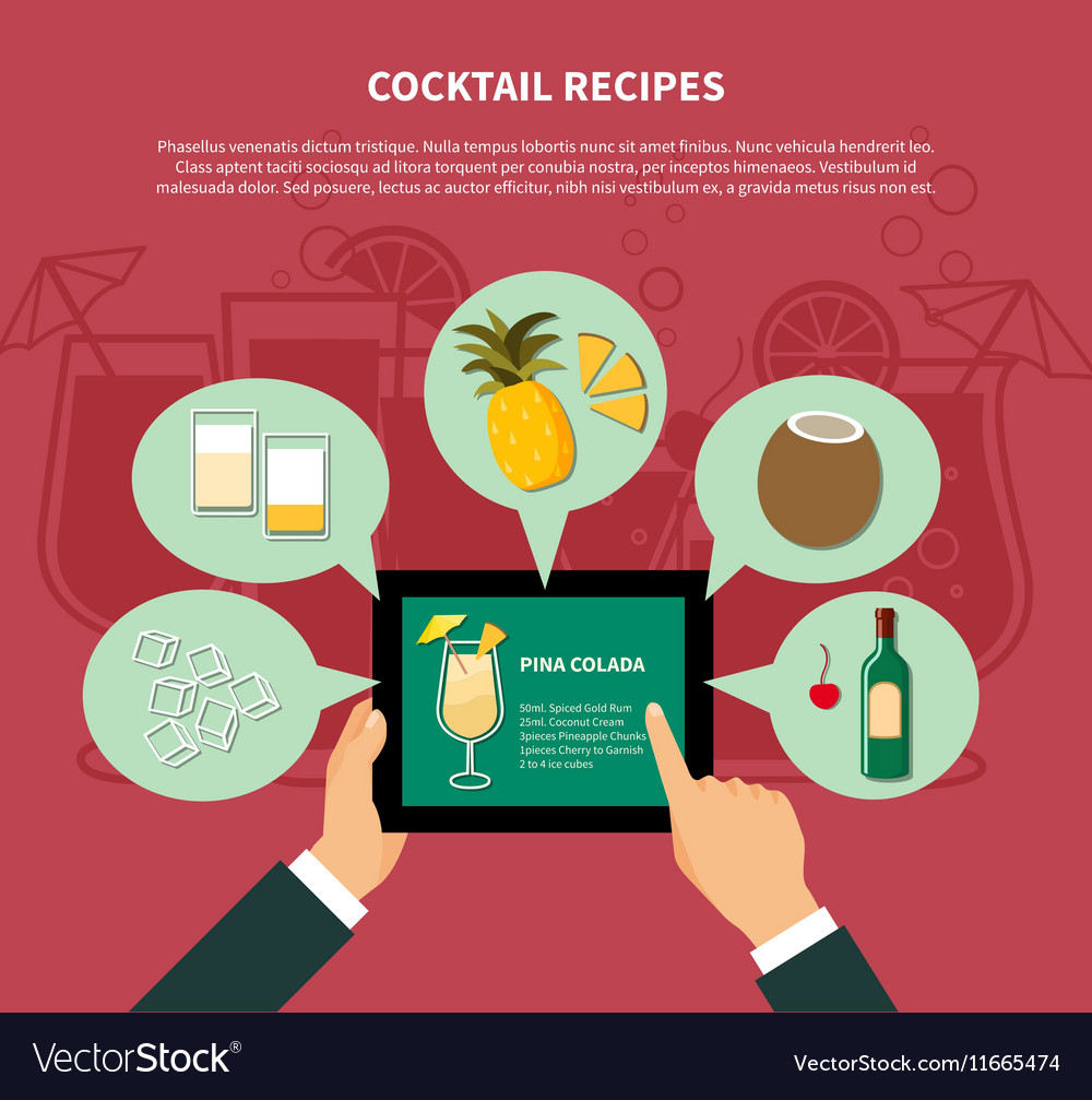 Cocktail Recipe Template vector image