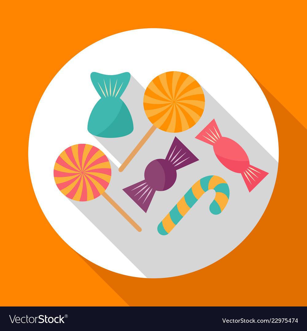 Colorful halloween candy flat icon with long