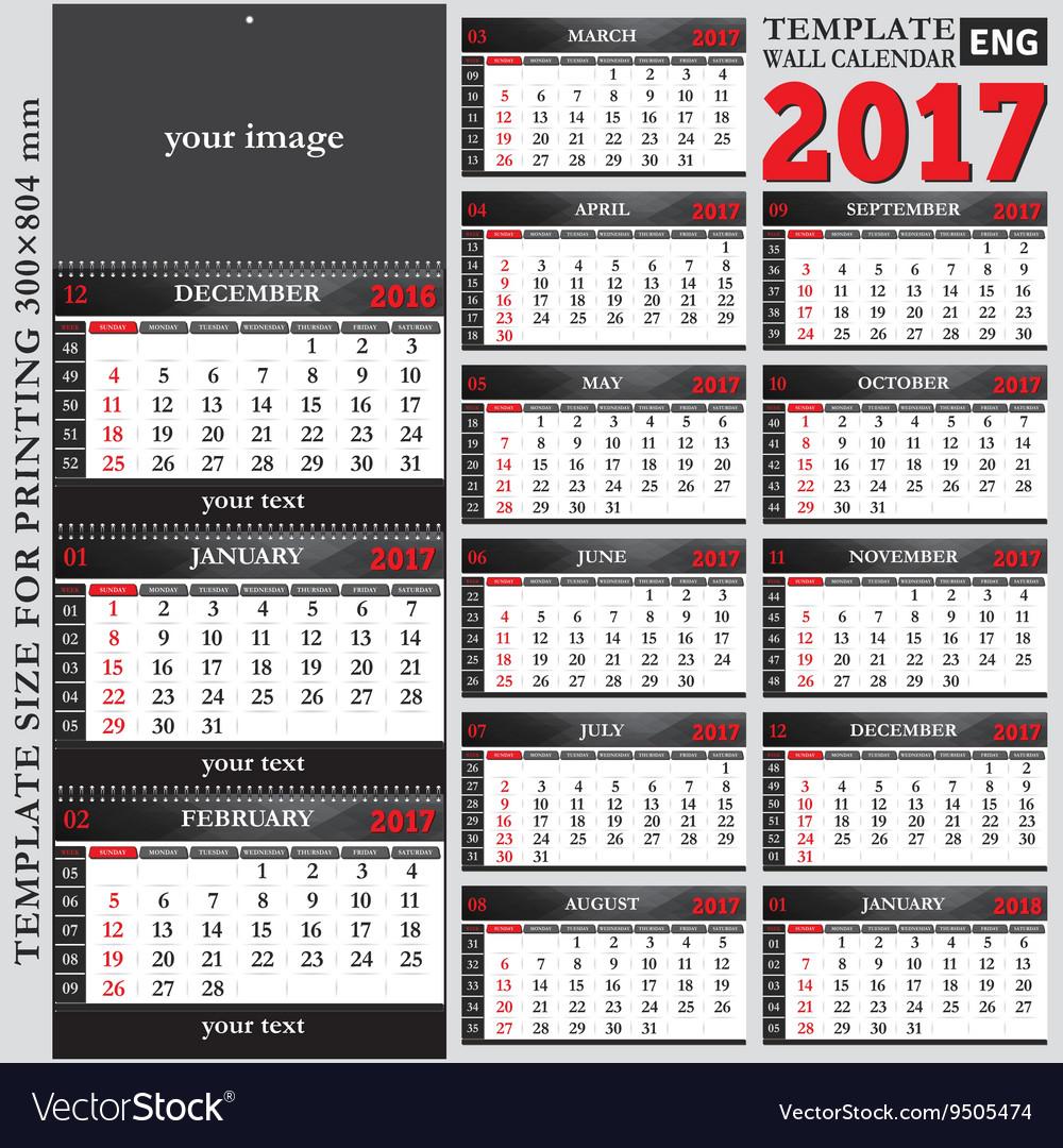 English Template Wall Quarterly Calendar 2017 Vector Image