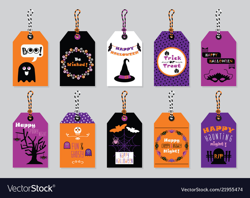 Halloween Gift Tags.Fall Colors Happy Halloween Gift Tags Set On