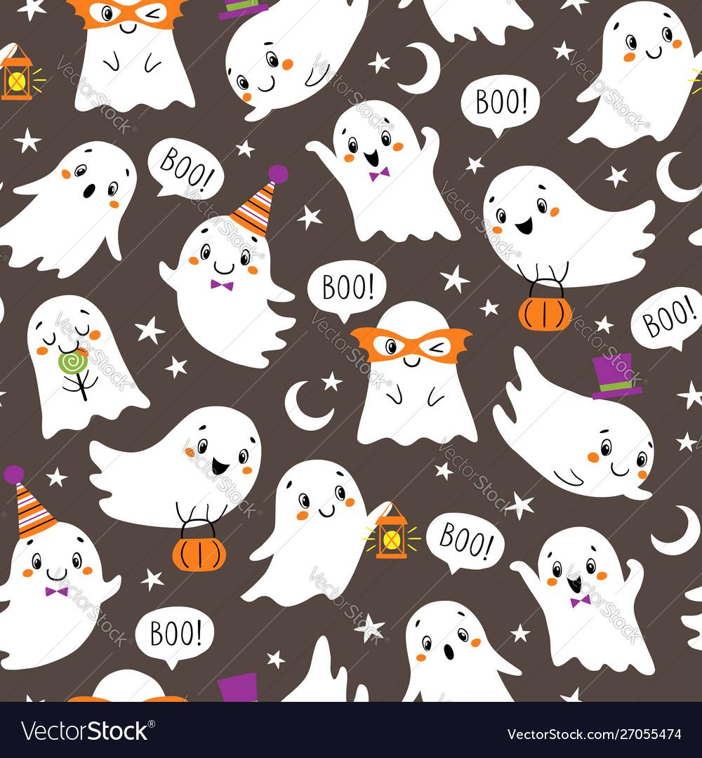 Halloween pattern cute little ghosts