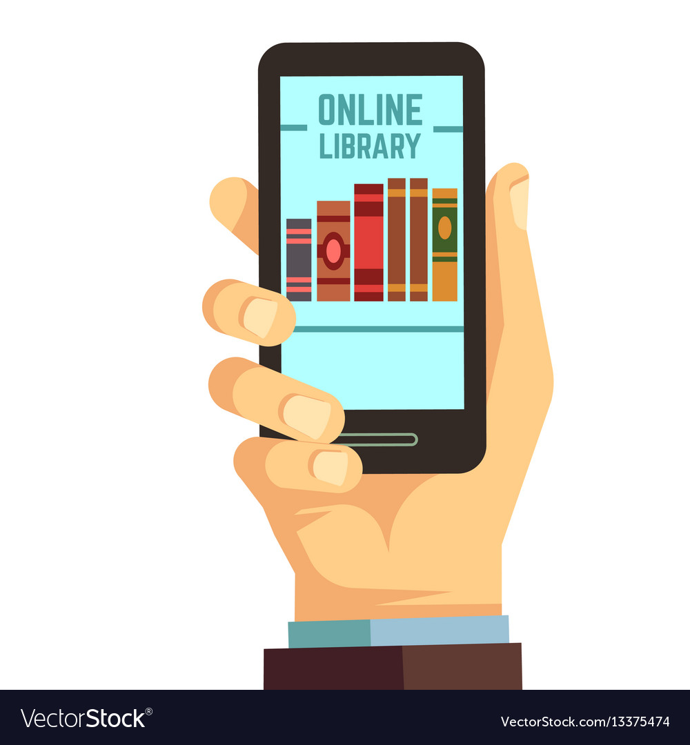 Hand holding smartphone with books e-reading