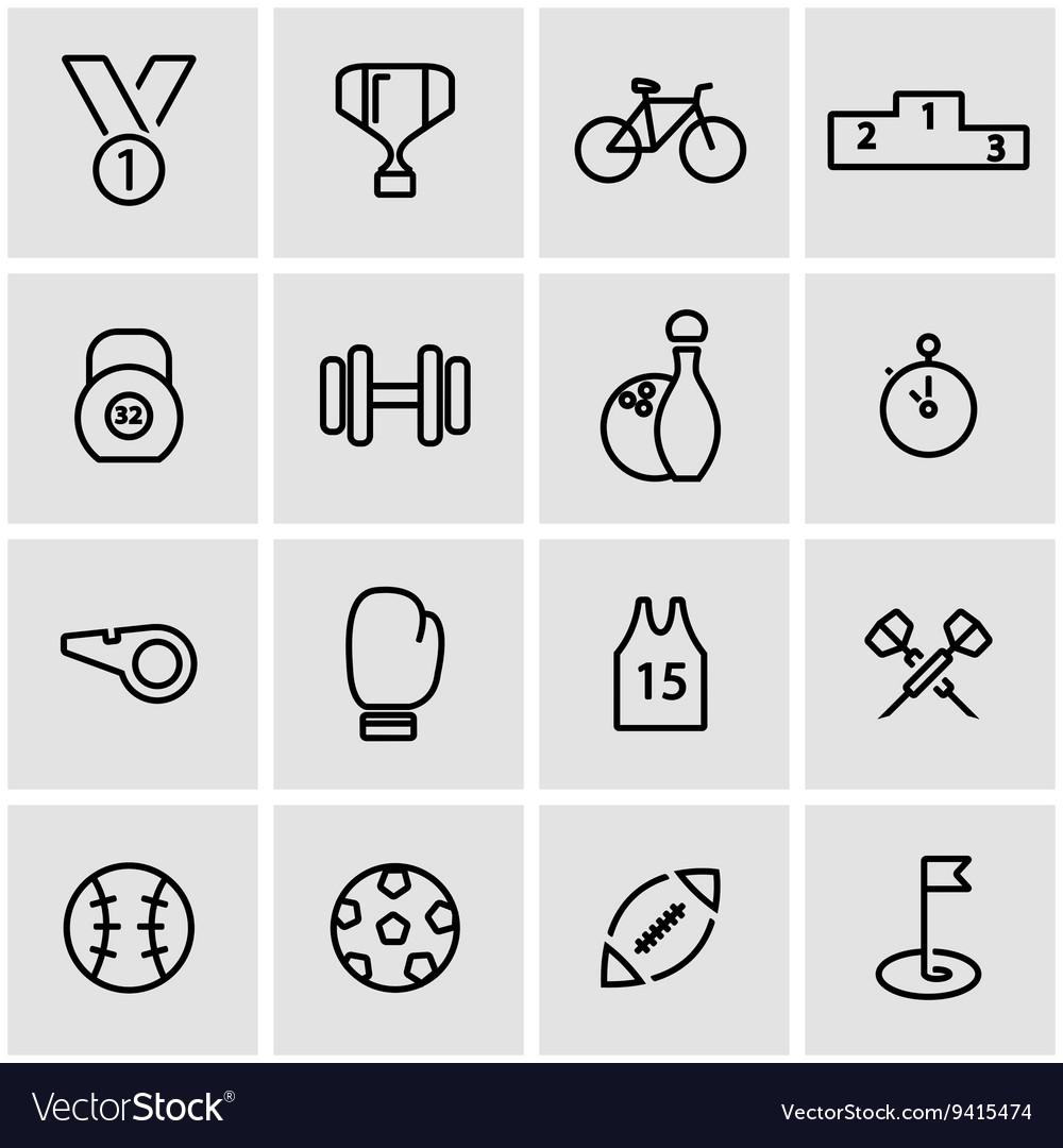 Line sport icon set