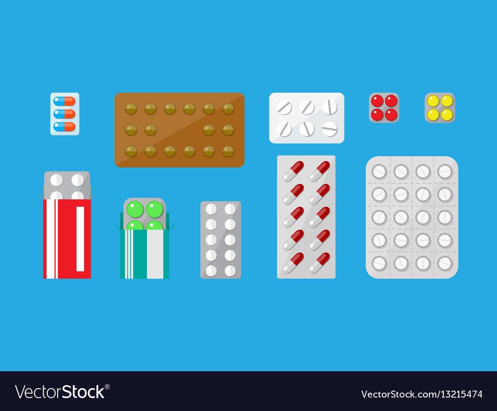 Medicine pills capsules set