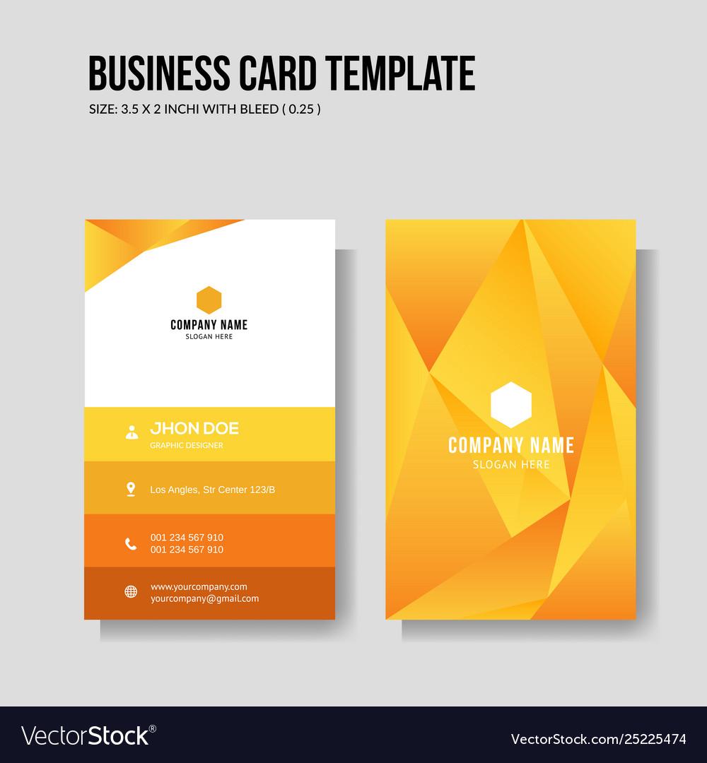 Modern yellow business card vertical template Vector Image