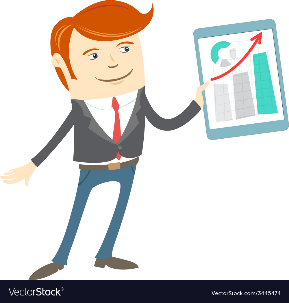 Office man presenting a graph on tablet