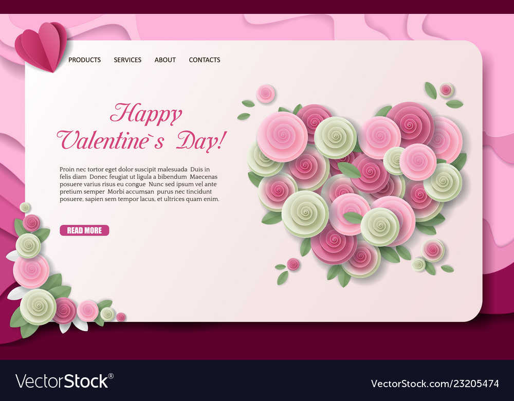 Paper cut valentines day landing page