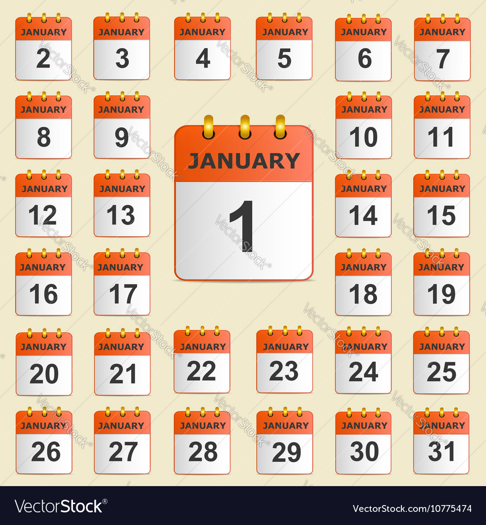 Set of icons for the calendar in January