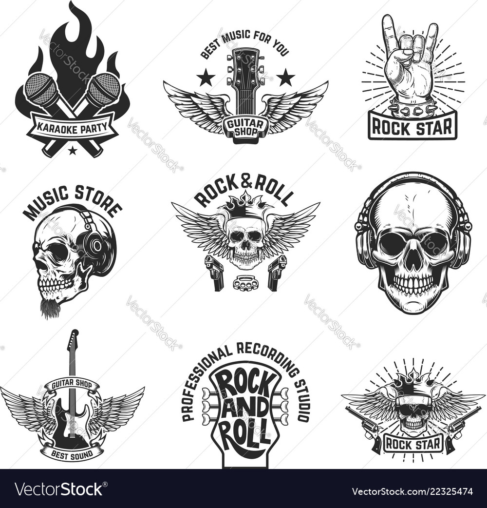 Set of rock music emblems isolated on white