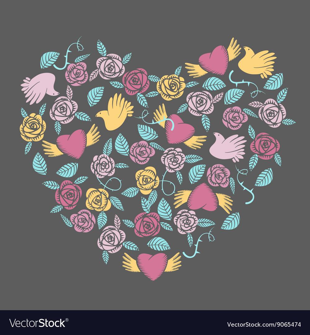 Valentine heart shaped decoration vector image