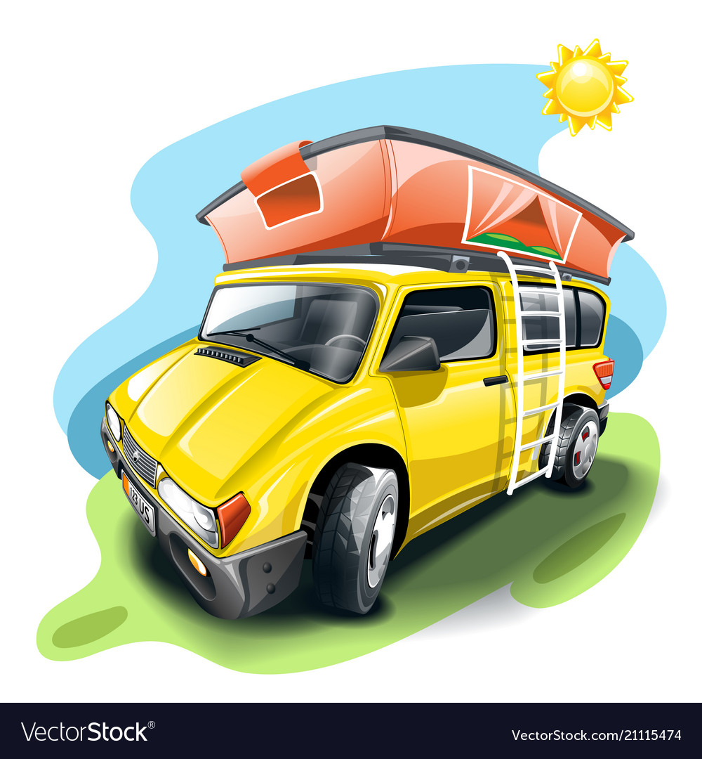 Yellow van with tent on the roof