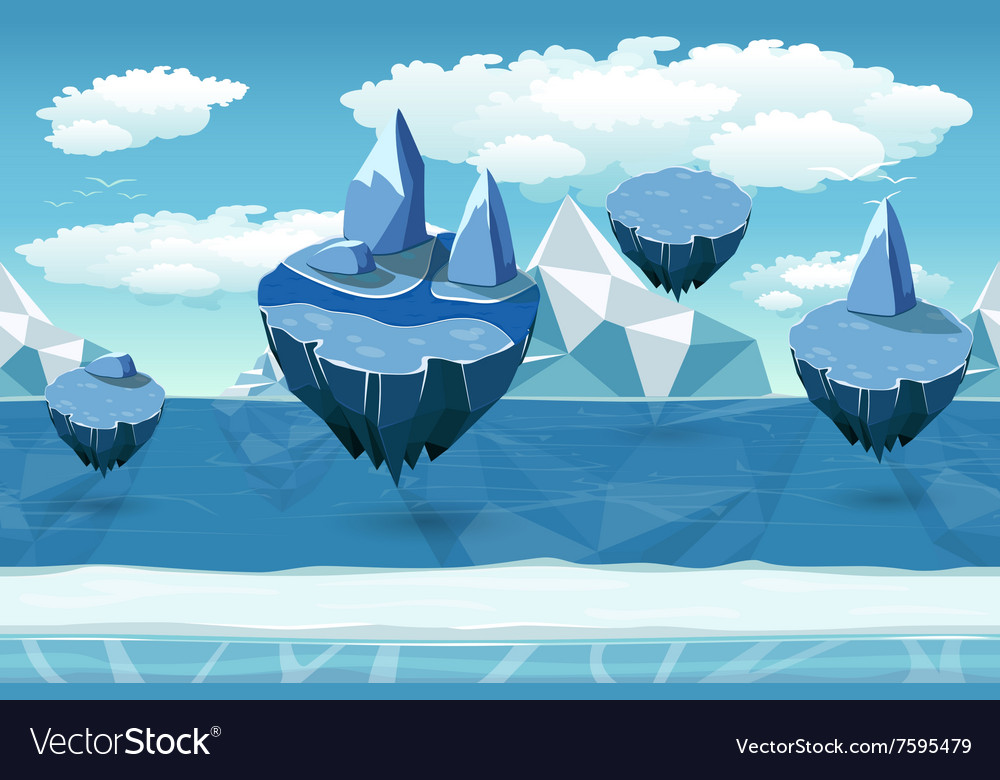 Arctic seamless cartoon landscape endless pattern