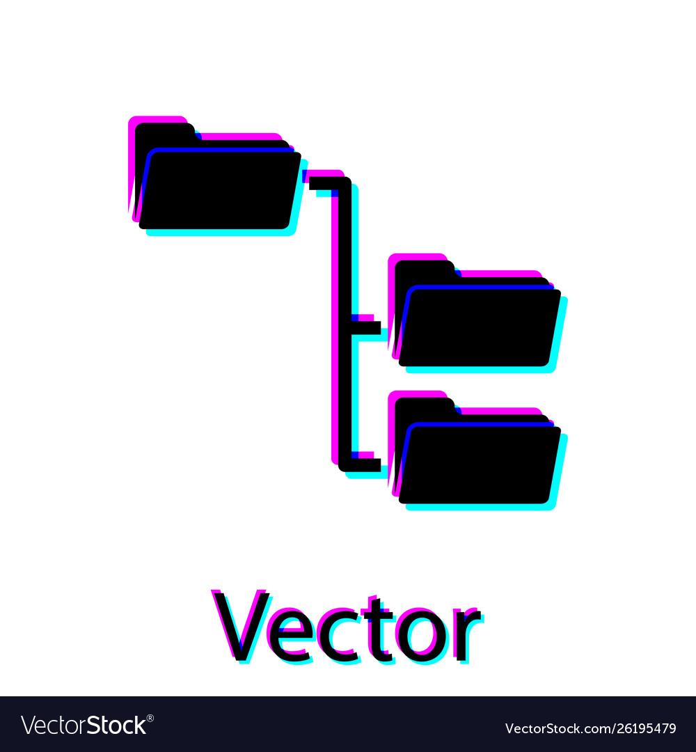 Black folder tree icon isolated on white