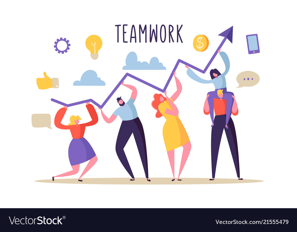 Business teamwork concept flat people characters