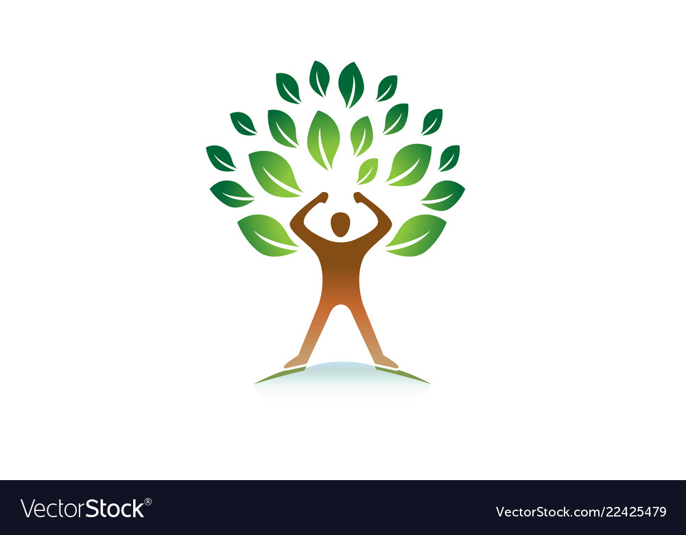 Creative hero person gym green tree logo