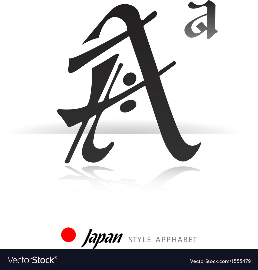 english alphabet in japanese style a royalty free vector