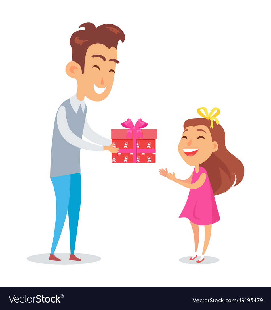 Father congratulates daughter with holiday vector image