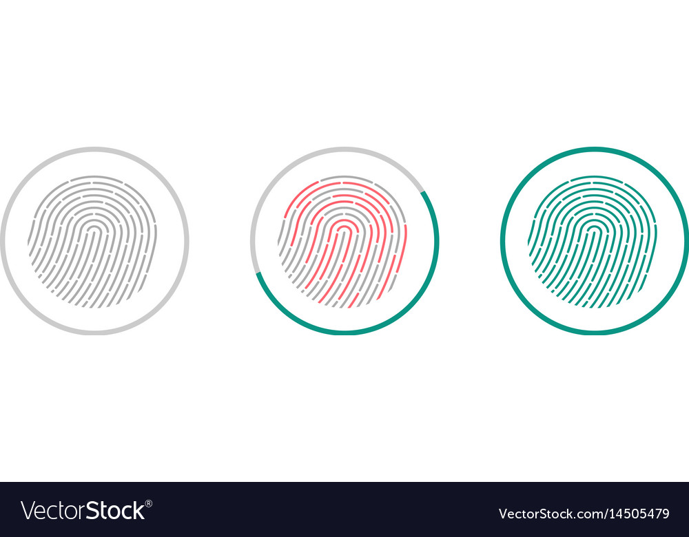 Fingerprint scanning icons isolated on white