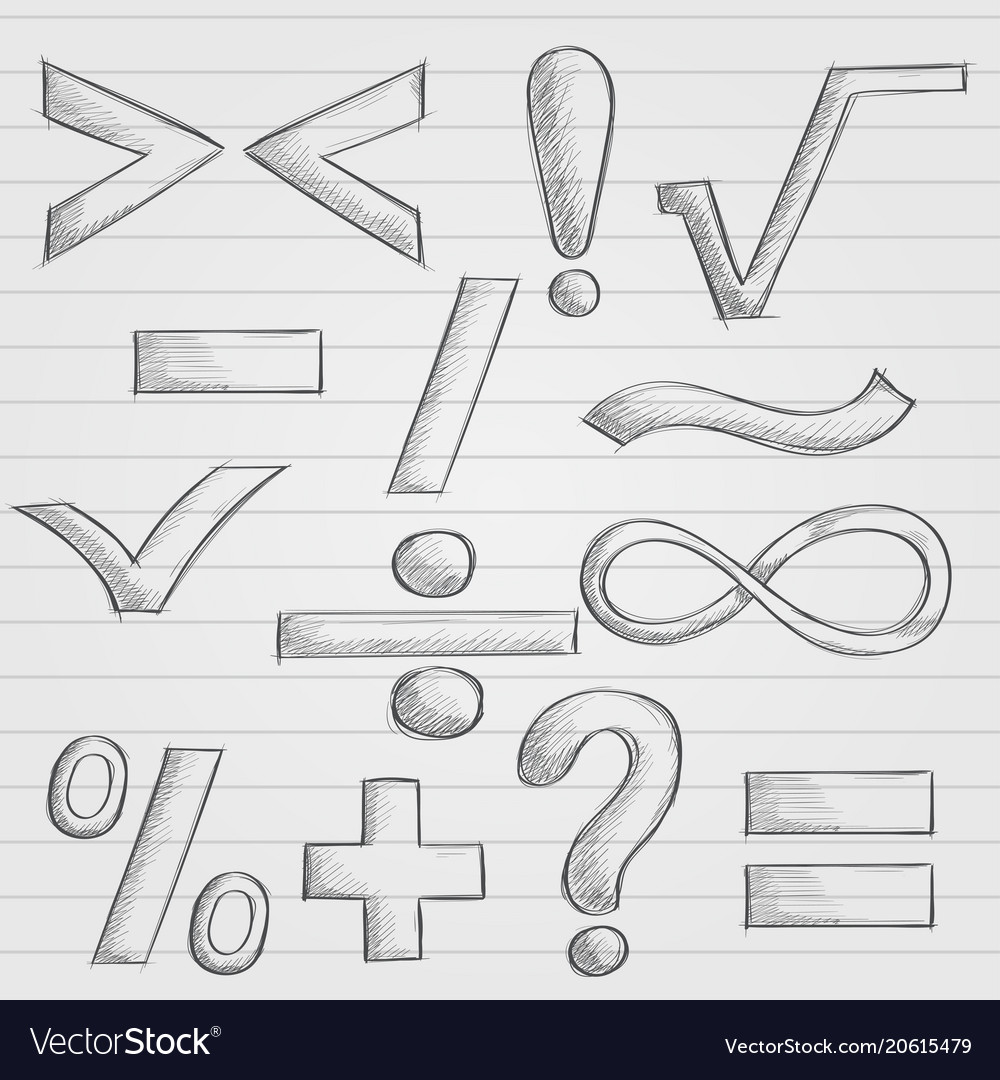 Mathematics and punctuation symbols hand drawn