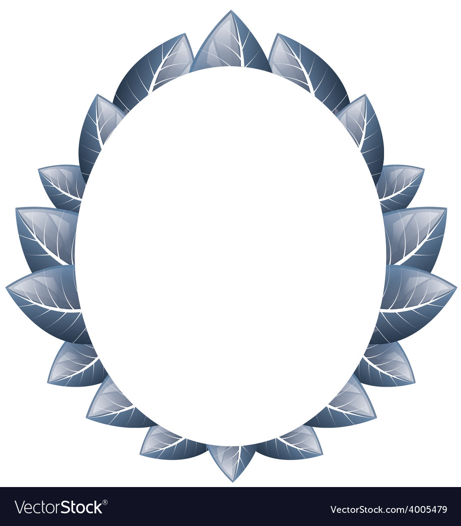 Oval frame of blue leaves on a white background Vector Image