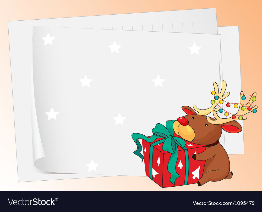 Paper sheets and a reindeer
