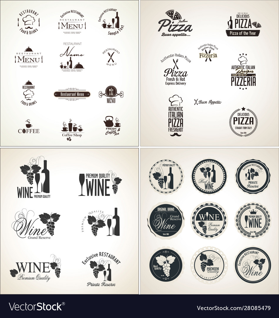 Restaurant badges and labels collection