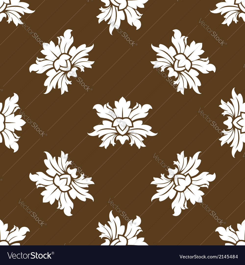 Brown seamless floral pattern with stylized