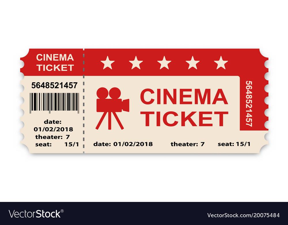 Cinema ticket isolated on white background vector image