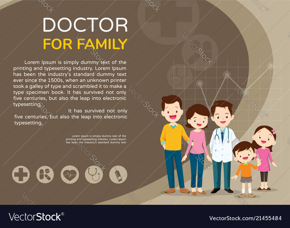 Doctor and cute family background poster
