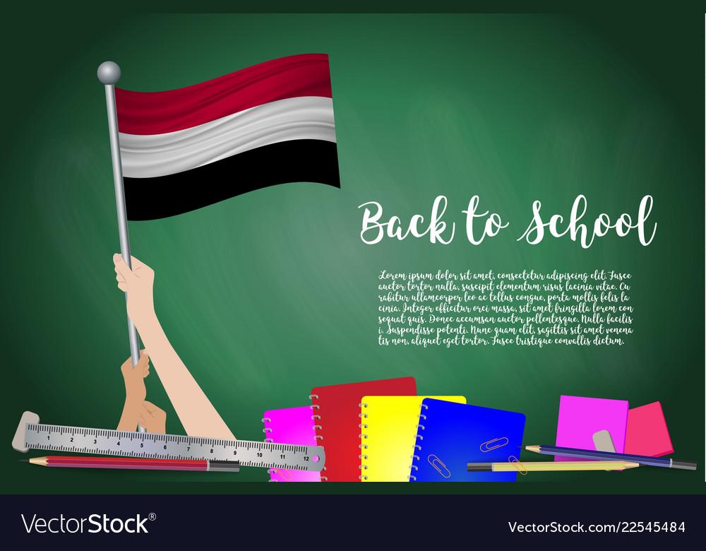 Flag of yemen on black chalkboard background
