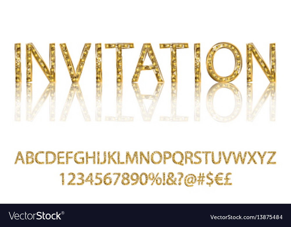 Gold alphabetic fonts and numbers