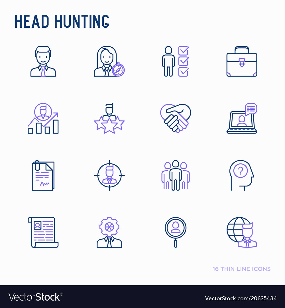 Head hunting thin line icons set