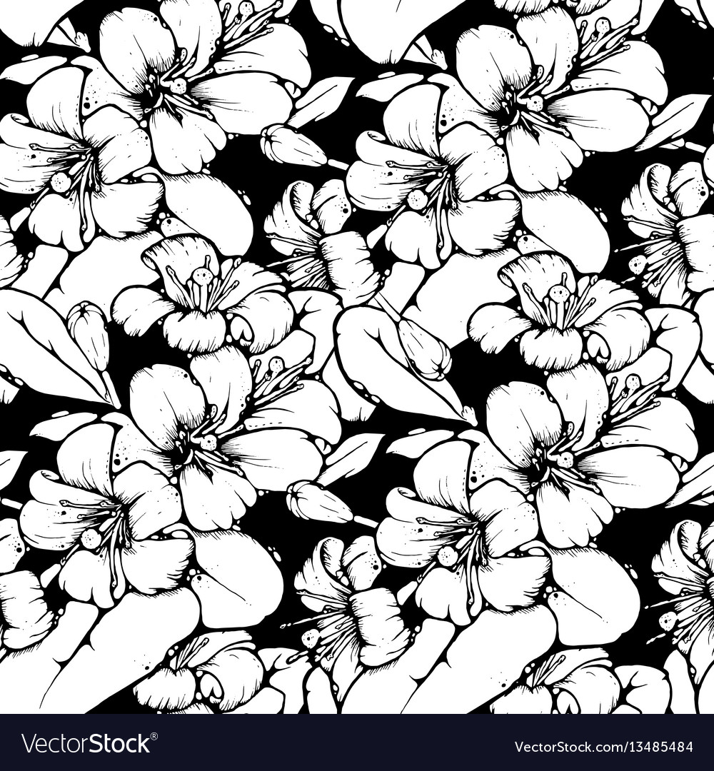 Lemon blossom drawing seamless pattern vector image