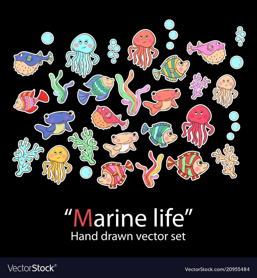 Marine lifefish setfashion patch badges