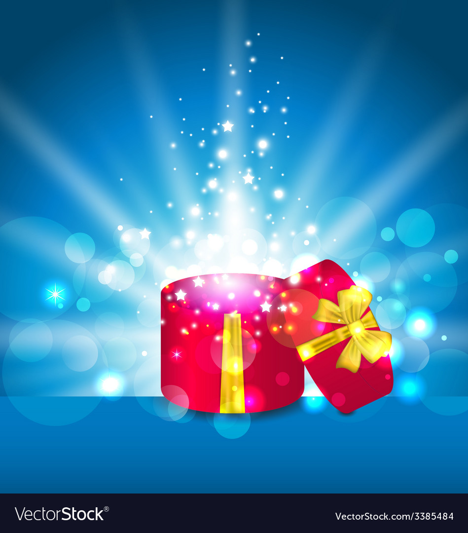 cartoon open present gift box ribbon bow