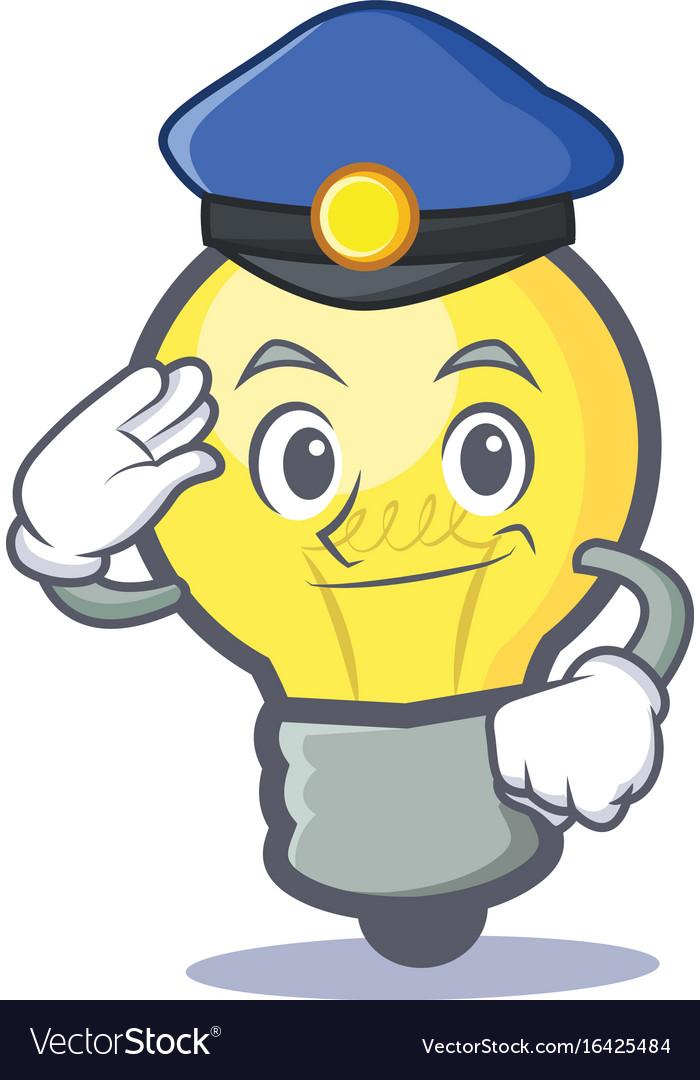 Police light bulb character cartoon