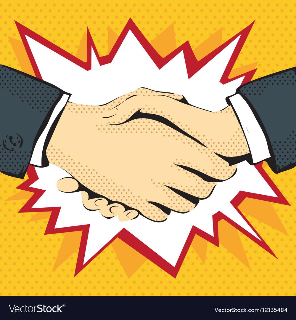 Retro graphics drawing handshake