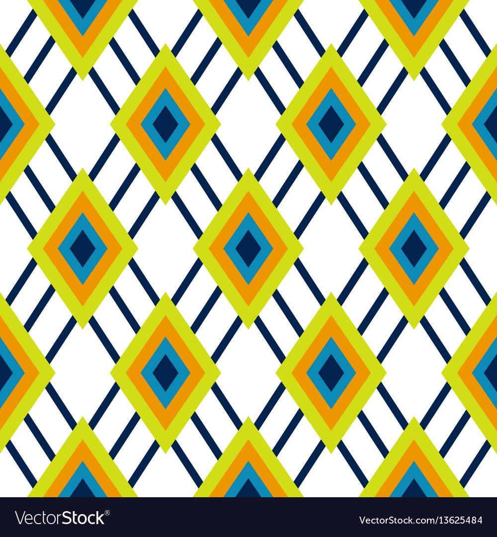 Rhombus geometric green and blue seamless pattern