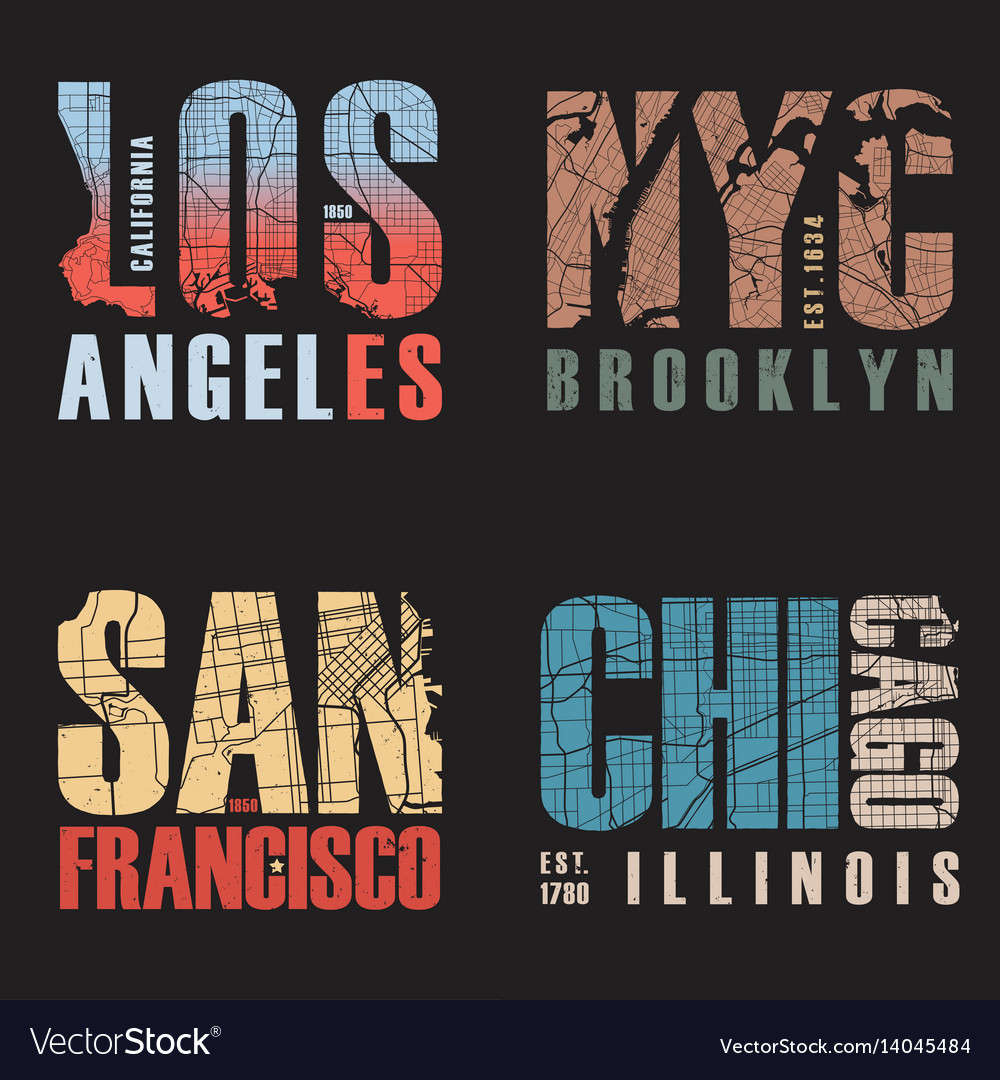 Set of us cities t-shirt designs
