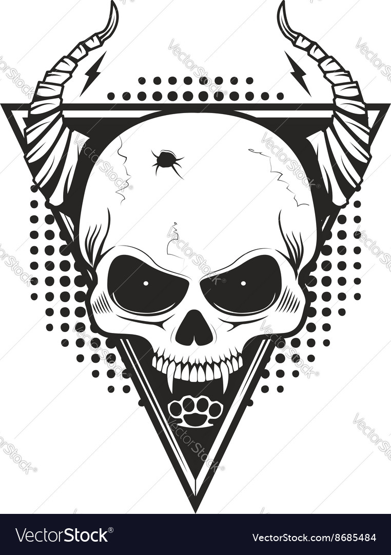 Skull with horns on triangle background vector image