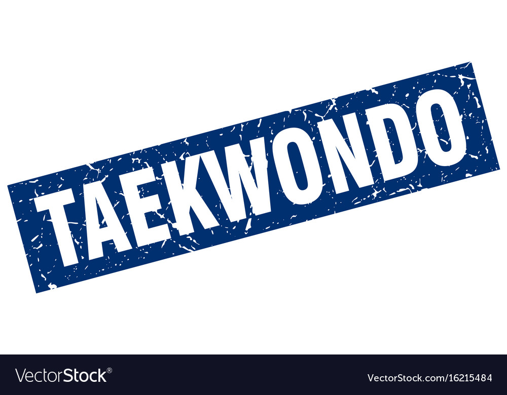 Square grunge blue taekwondo stamp