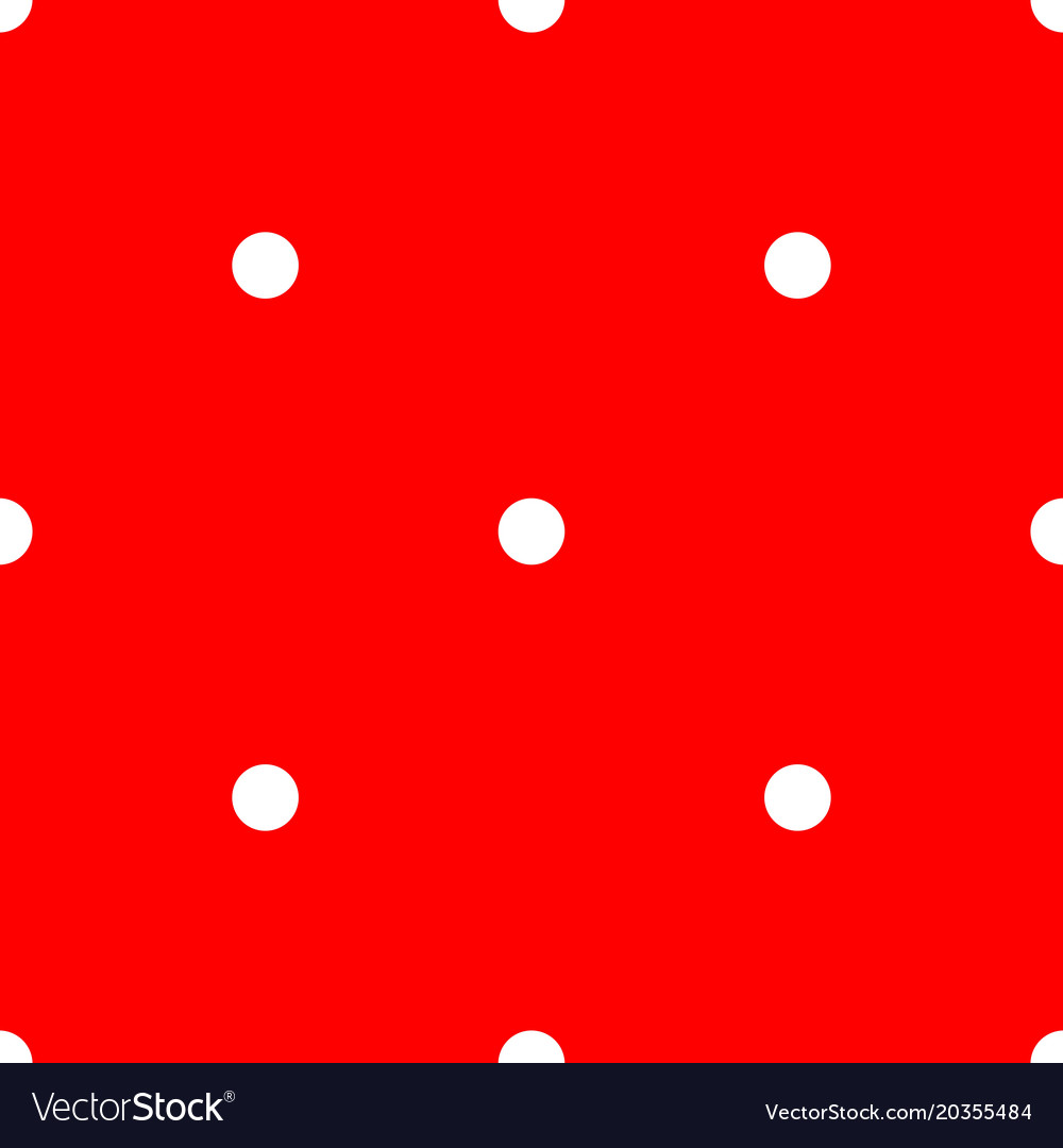 Tile pattern with white polka dots on red vector image