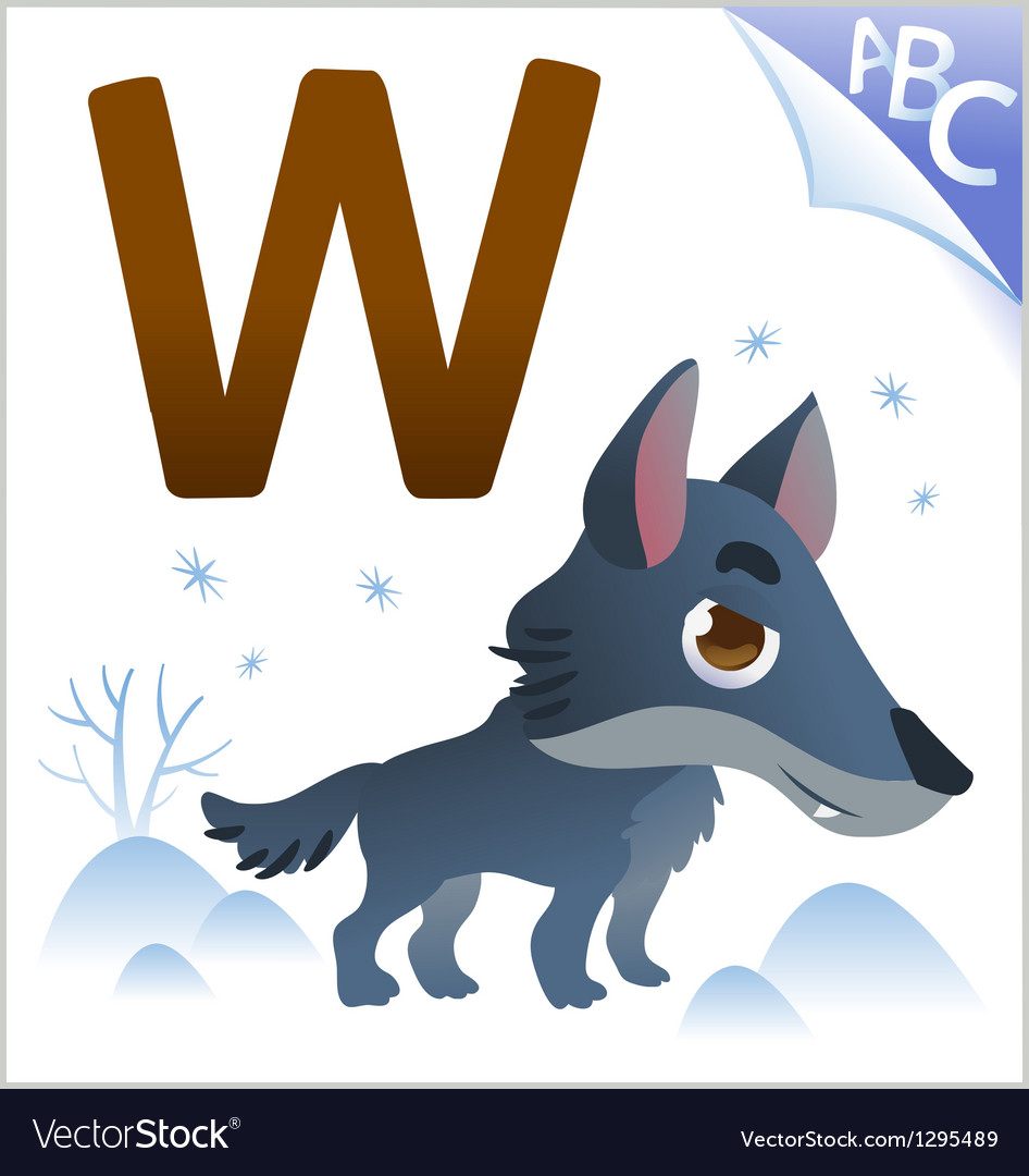Animal alphabet for the kids W for the Wolf