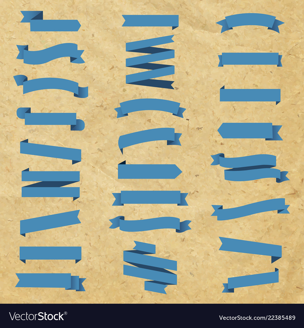 Blue ribbon set in cardboard background