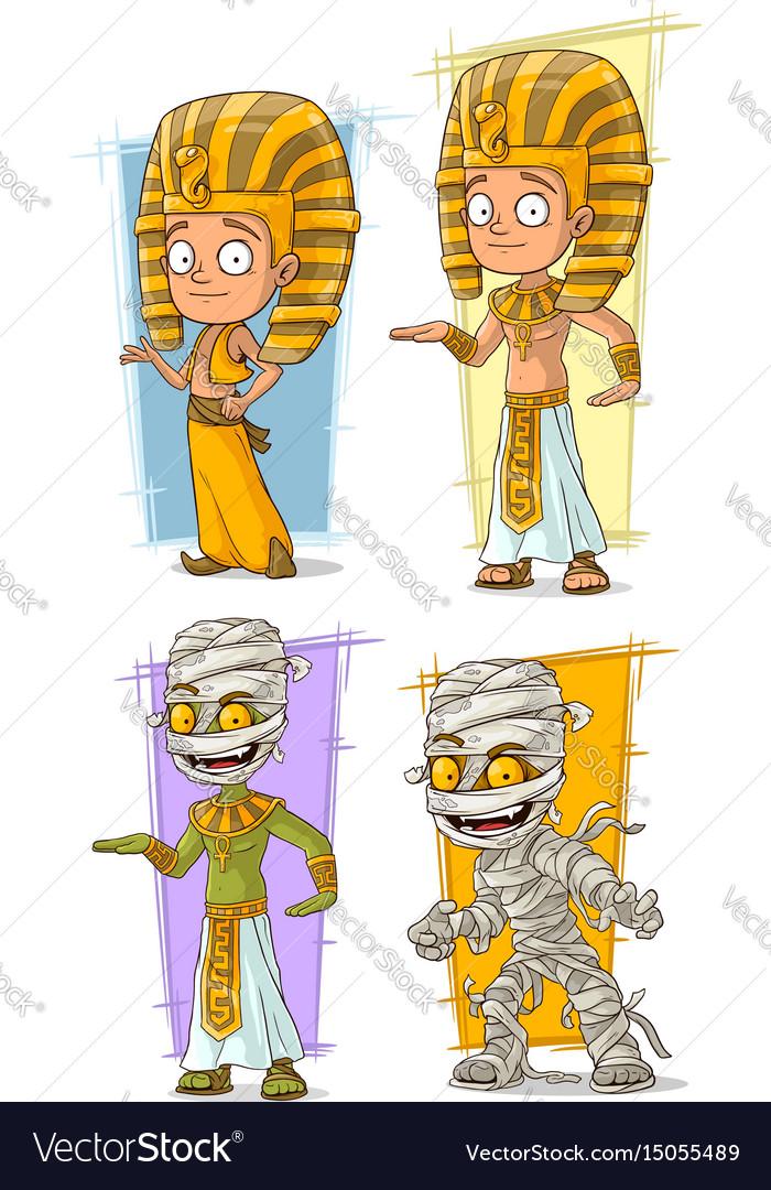 Cartoon egyptian pharaoh and mummy character set vector image